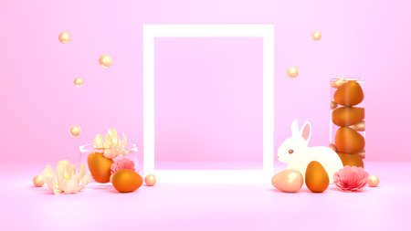 Easter poster. Composition of a white frame, flowers, easter eggs, an easter bunny, a combination of gold, pearls. 3D render.