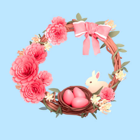 Easter wreath. Festive composition of flowers, branches, easter eggs and a bunny. 3D render.