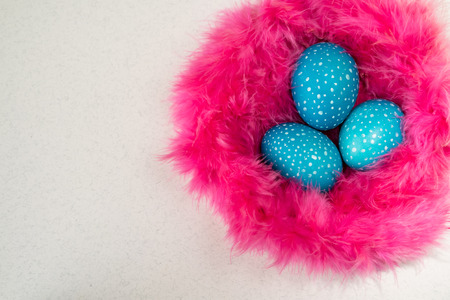 pink fur: Blue speckled Easter eggs in a nest of pink fur on a white background, top view Stock Photo