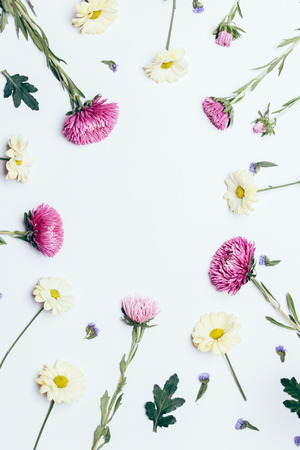Flower arrangement top view, vertical framing