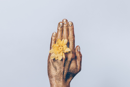 Golden womens wrist with a yellow rose between her fingers closeup Stock Photo