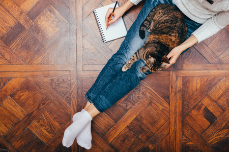 View from above young woman freelancer sitting on wooden floor writing in notepad and pet her cat. Concept comfortable work from home. Imagens