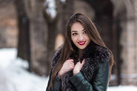visone: Portrait of beautiful brunette girl having fun in snowy winter time