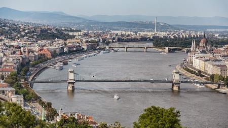 A Budapest city landscape, bridge across Dunau, wide view from Gellert Hill