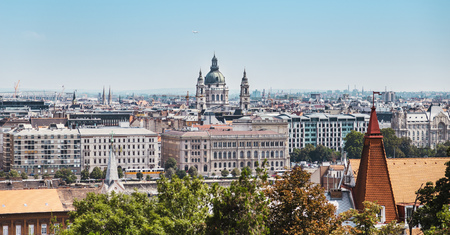 Budapest city landscape, view from Gellert Hill 版權商用圖片 - 121263255