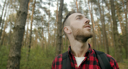 Young bearded man in red checked shirt breathing fresh in the pine forest 版權商用圖片