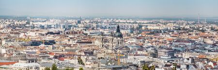 BUDAPEST, HUNGARY - 24 August, 2018: Budapest city landscape, panoram view with architecture landmarks, sunny summer weather Editoriali
