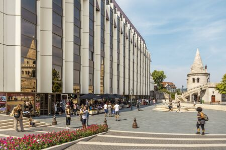 BUDAPEST, HUNGARY - 24 August, 2018: Summer view on the shopping mall near the Fisherman Bastion