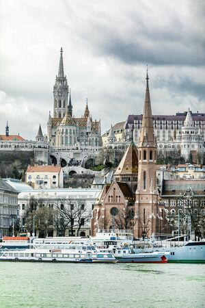 BUDAPEST, HUNGARY - 24 August, 2018: Budapest. View of Fishermans Bastion and the church of St. Matthias from the east