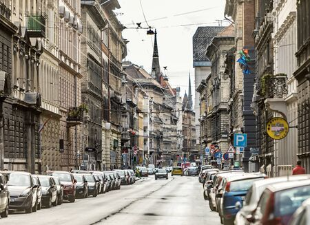 BUDAPEST, HUNGARY - 24 August, 2018: Street view with many cars on the old part of Budapest