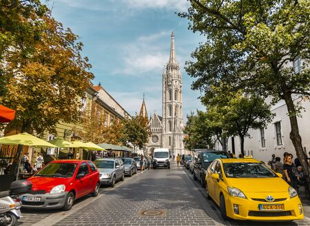 BUDAPEST, HUNGARY - 24 August, 2018: View on the summer street near the Matthias Church in Budapest