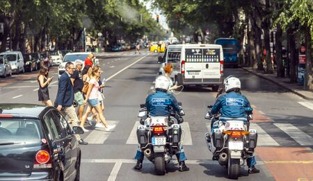 BUDAPEST, HUNGARY - 24 August, 2018: View on the Budapest busy road with people and cars
