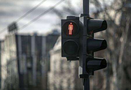 View of red traffic light Archivio Fotografico
