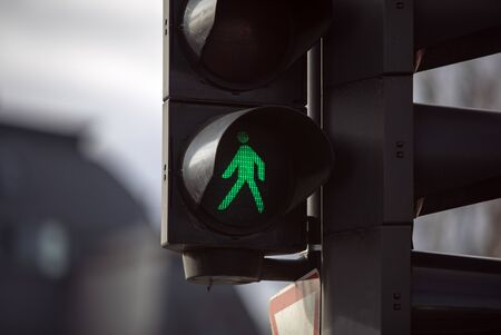 Close up view of green traffic light