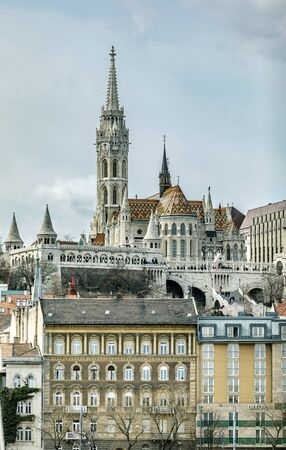 BUDAPEST, HUNGARY - 24 August, 2018: Church of St. Matthias views of the Danube .Budapest.Hungary Editoriali