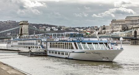 BUDAPEST, HUNGARY - 24 August, 2018: Big motor ship River Adagio t the Danube river