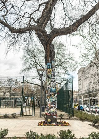 BUDAPEST, HUNGARY - 24 August, 2018: Memorial tree with photos, letters and plastic flowers to the memory of Michael Jackson