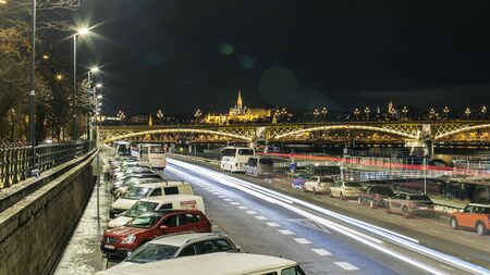 BUDAPEST, HUNGARY - 24 August, 2018: Night view on the Margaret Bridge and nigt lighting Budapest Redakční
