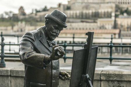 BUDAPEST, HUNGARY - 24 August, 2018: Monument of Ignatius Roshkovich standing on the coast of Danube