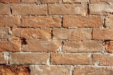 Old grunge brick wall for your abstract, vintage background. Red brick texture image Archivio Fotografico