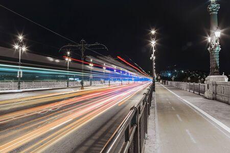 Night view of the lighting Budapest street, photo taken at the night shutter speed Archivio Fotografico