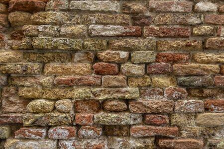 Red old worn brick wall texture background Archivio Fotografico