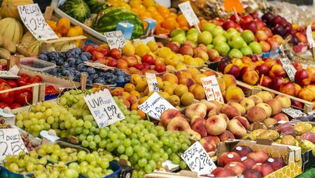 Market with different fruits at the Venice Archivio Fotografico