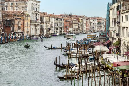 VENICE, ITALY - 25 August, 2018: Full view of Grand Canal and bridges in Venice,Italy Archivio Fotografico - 137706437