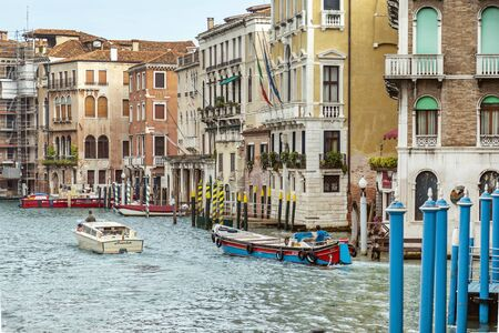 VENICE, ITALY - 25 August, 2018: Majestic canals in Venice, and water trafficVenice Italy