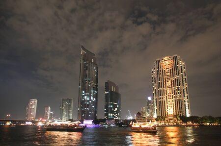 phraya: View of Bangkok skyline from Chao Phraya river