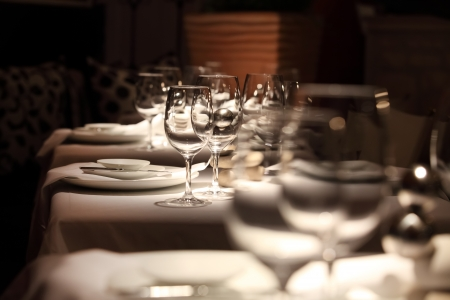 restaurant setting: beautifully set table in a restaurant Stock Photo