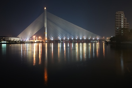 viii: View of Rama VIII suspension Bridge in Bangkok from Chao Phraya river
