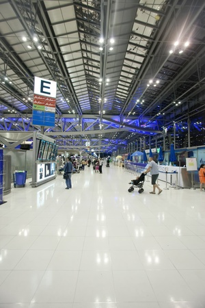BANGKOK � JANUARY 17. Passengers in Bangkok airport on January 17, 2012. early morning. Suvarnabhumi airport is world