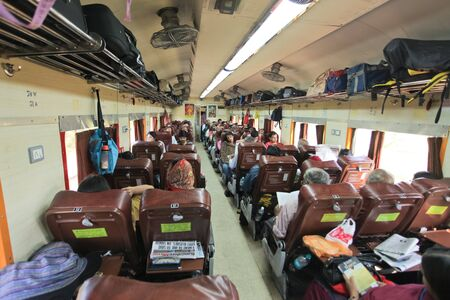 KARNATAKA JANUARY 30 : Passanger train carriage on the way to Chennai on January 30, 2011. Indian railway is  world