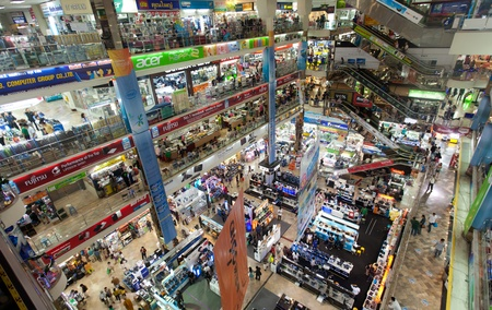 BANGKOK - JANUARY 14. Crowds at Pantip Plaza shopping centre on January 14, 2012 in Bangkok, Thailand. The plaza is a mekka for all things electronics related.