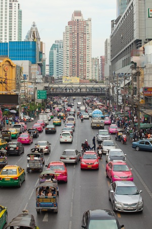 congested: BANGKOK - JANUARY 14. Business congested traffic on January 14, 2012 in Bangkok, Thailand. Even with improved public transport, traffic congestion is still a problem.