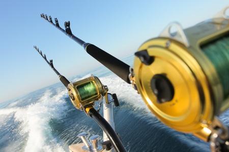 Big Game Fishing Reels und Stangen Lizenzfreie Bilder