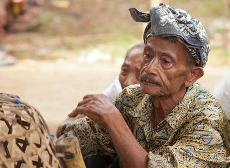 however: BALI - JANUARY 20. Old man with traditional head scarf assisting Cock fighting contest in Bali on January 20, 2012 in Bali, Indonesia. Cock fights are illegal, however are tolerated out of traditional. Editorial