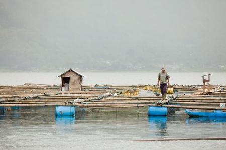 subsistence: LAKE BATUR, BALI - JANUARY 21. Man taking care of his fish farm on Lake Batur on January 21, 2012 in Bali, Indonesia. Fish farming is their main source of subsistence on the lake.