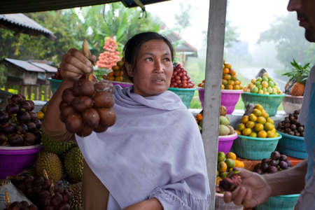 BALI - JANUARY 20. Balinese fruit stall owner selling her produce in Bali on January 20, 2012 in Bali, Indonesia. Most fruit is used for offerings in temples rather for personal consumption.