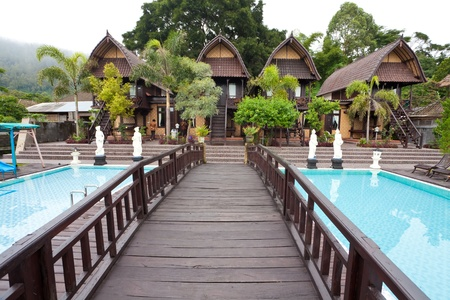 eco tourism: Nature resort with pool on Lake Batur in Bali, Indonesia. Editorial