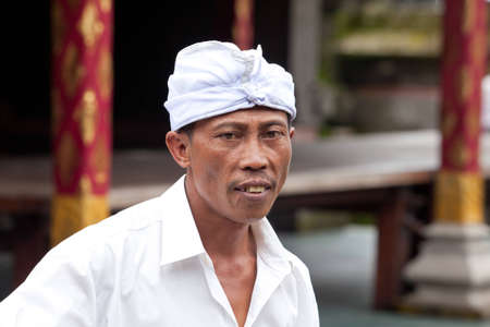 udeng: BALI - JANUARY 22. Balinese pilgrim at Mother Temple in Besakih on January 22, 2012 in Bali, Indonesia. Most Balinese hindus make a yearly pilgrim to the mother of all temples.