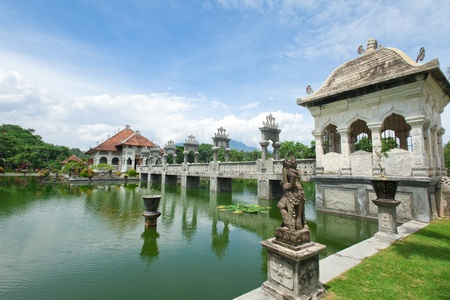 Architectural wonders at the Karangasem water temple in Bali, Indonesia Stock Photo