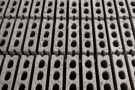 Repetition of grey hollow cement bricks as a background Stock Photo - 13330340