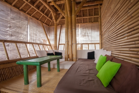 SItting area in bamboo house in Bali