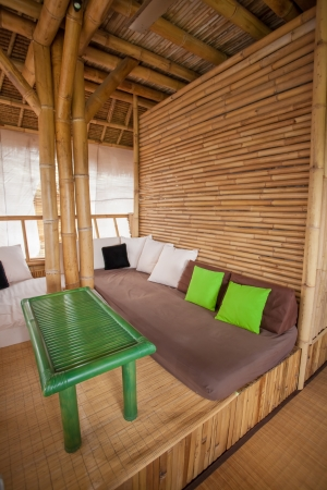 fusion: SItting area in bamboo house in Bali