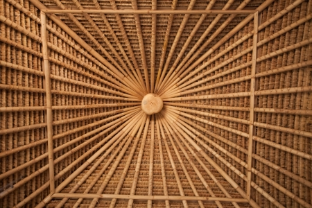 Bamboo ceiling pattern in bamboo house in Bali photo