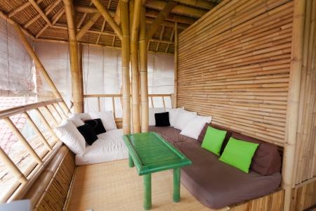 SItting area in bamboo house in Bali