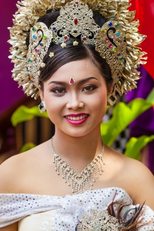 celebratation: BALI - FEBRUARY 11. Woman enacting wedding scene in preparation for religious ceremony on February 11, 2012 in Bali, Indonesia. Most Balinese get married in their early 20s.