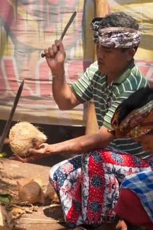 udeng: BALI - 11 de febrero. Los pobladores preparan la comida para la ceremonia de la boda el 11 de febrero de 2012 en Bali, Indonesia. Sorprendentemente, este pueblo de pescadores de la comunidad comen principalmente carne de cerdo.